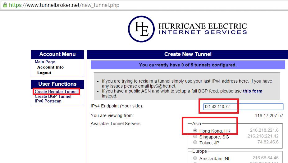 《阿里云服务器使用he-ipv6》